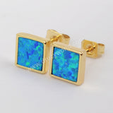 Gold Plated Bezel Square Blue Opal Studs ZG0225