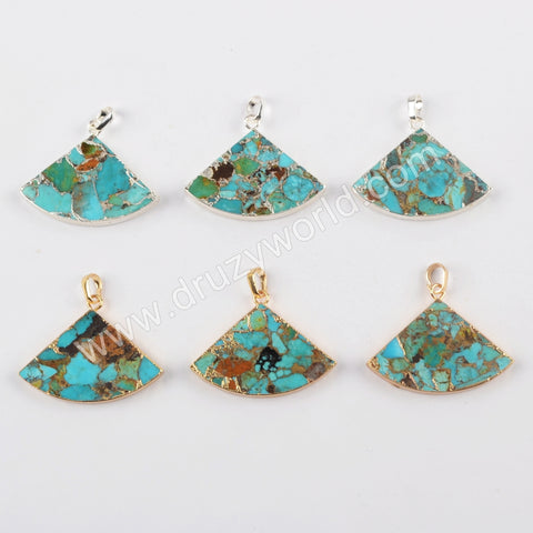 Turquoise Copper Pendant Charm For Women Jewelry Making Silver Plated S1684