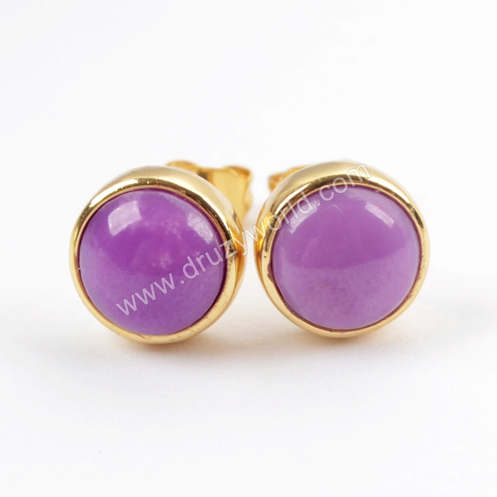 Round Gold Plated  Multi-kind Stone Bezel Stud Earrings ZG0259