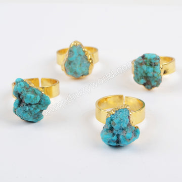 Gold Plated Rough Natural Turquoise Open Ring G1327