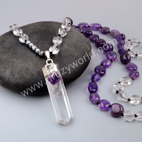 Silver Natural White Quartz Point Long Beaded Necklace HD0234