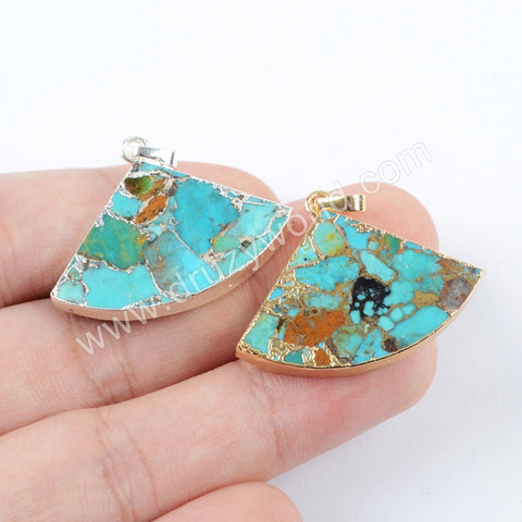 Gold Plated Copper Turquoise Fan shape Pendant In Silver For Women Jewelry Making G1684