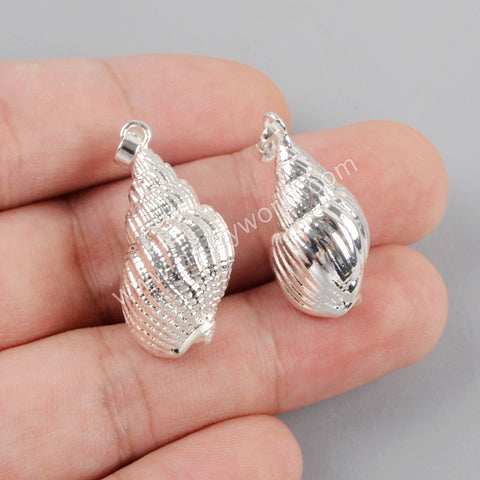 Conch Shell Pendant For Jewelry Making  Silver Plated S1577