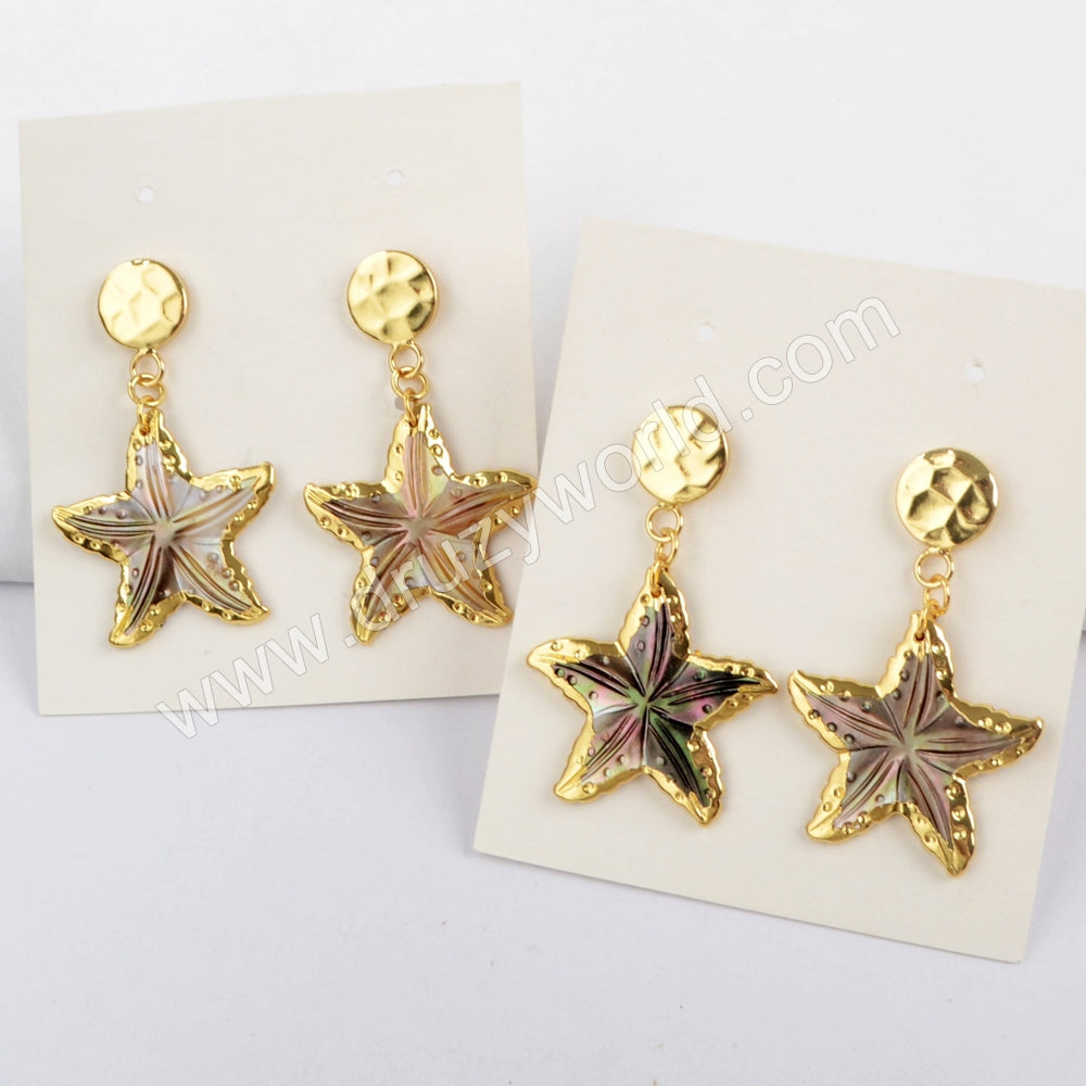 18K Gold Plated Rainbow Shell Starfish With Gold Coin Stud Earrings G1628-E