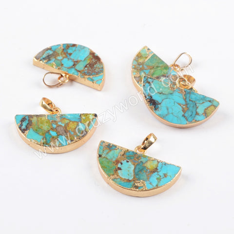 Gold Plated Copper Turquoise Half Round Pendant G1685