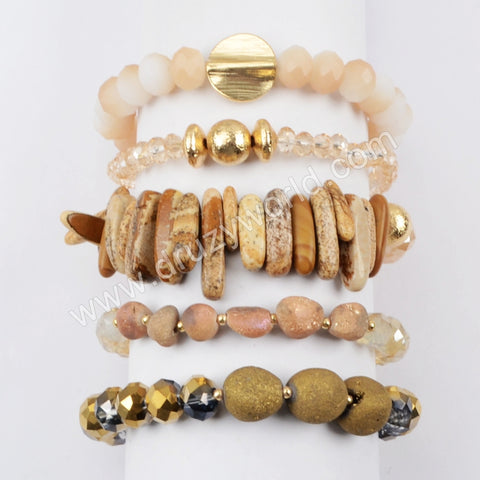 Druzy Crystal Glass Beads Bracelet Set Gift For Her WX1062