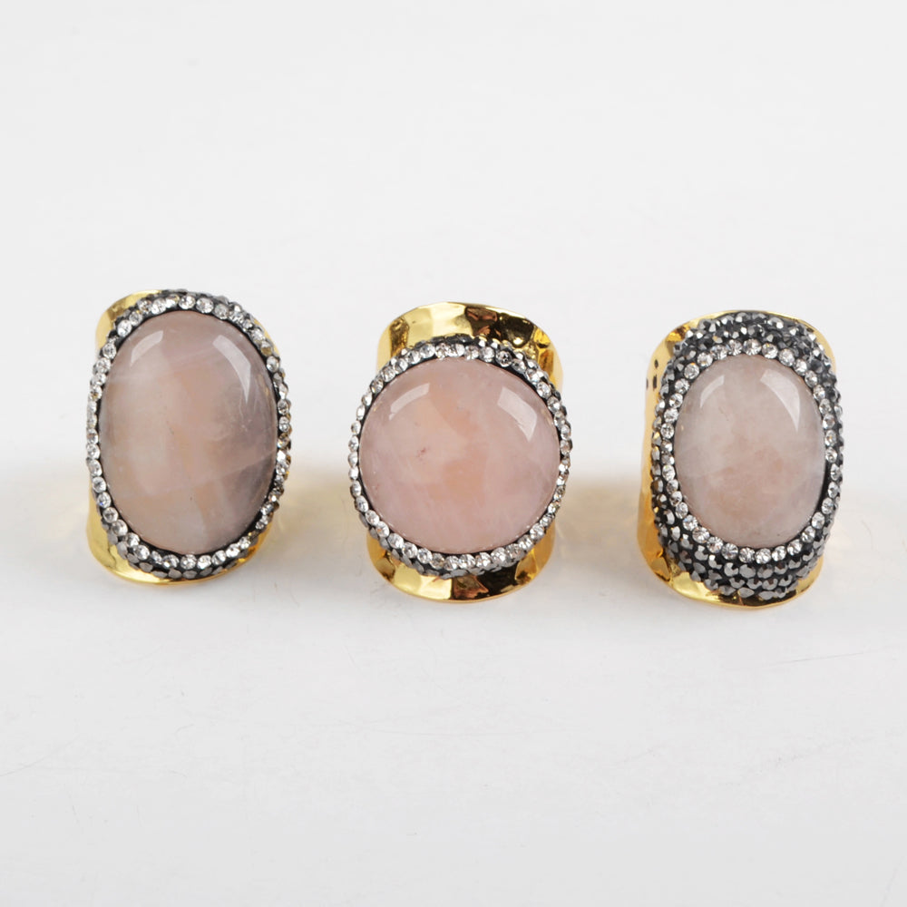 9.0 Large Size Stainless Steel Gold Rose Quartz Ring