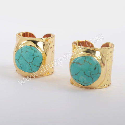 Gold Plated Howlite Turquoise Boho Chic Gemstone Blue Ring G1881