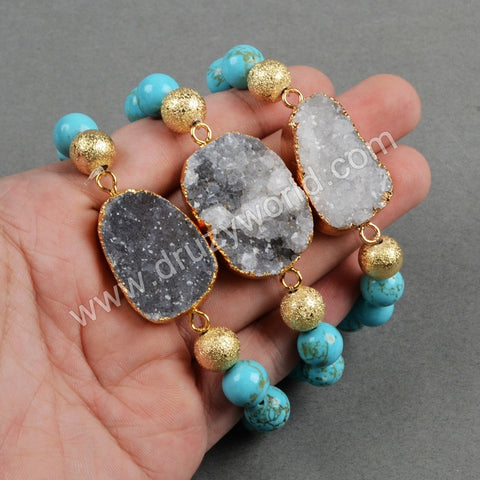 Gold Plated Natural Agate Druzy Geode Bracelet With 10mm Blue Howlite Turquoise Beads