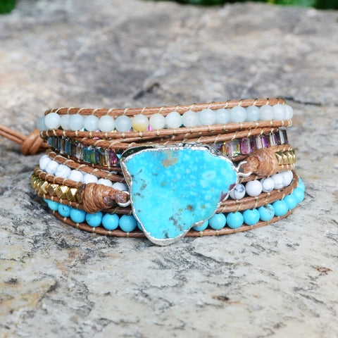 Boho Silver Plated Natural Turquoise Beads Bracelet Vintage Leather Wrap Bracelet HD0071