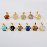 Natural Multi-kind Stones Gemstone Gold Plated Pendant Charm WX1288