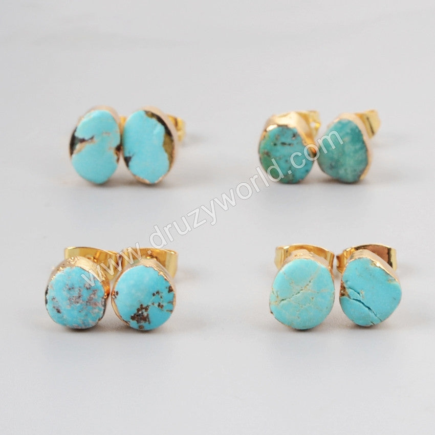 Natural Turquoise Stud Earrings For Women Gold Plated G1017