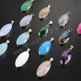 925 Sterling Silver Oval Natural Multi-kind Stone Pendant SS148