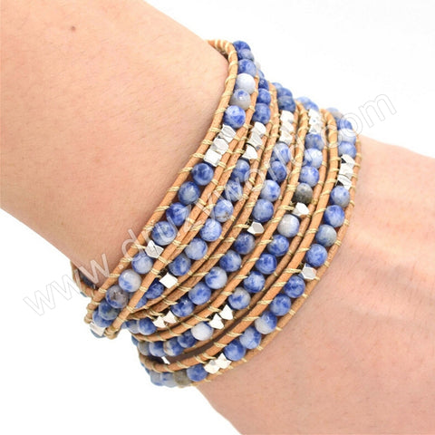 Hand Made Gypspy Bohemian Leather Gemstone Beaded Wrap Bracelet HD0094