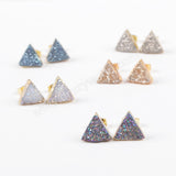 Gold Plated Triangle Natural Agate Titanium Transparent Druzy Stud Earrings G0915