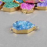 Gold Plated Heptagon Rainbow Agate Druzy Geode Connector Double Bails G0481