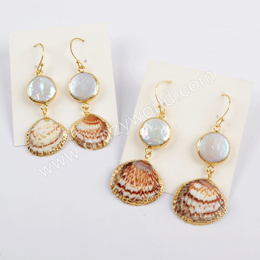 Gold Plated Round White Pearl & Shell Earrings G1595