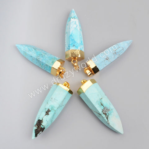 Gold Plated Howlite Turquoise Faceted Point Pendant Bead G1008