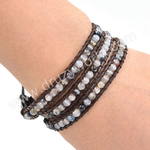 Hand Made Gypspy Bohemian Leather Gemstone Beaded Wrap Bracelet HD0095