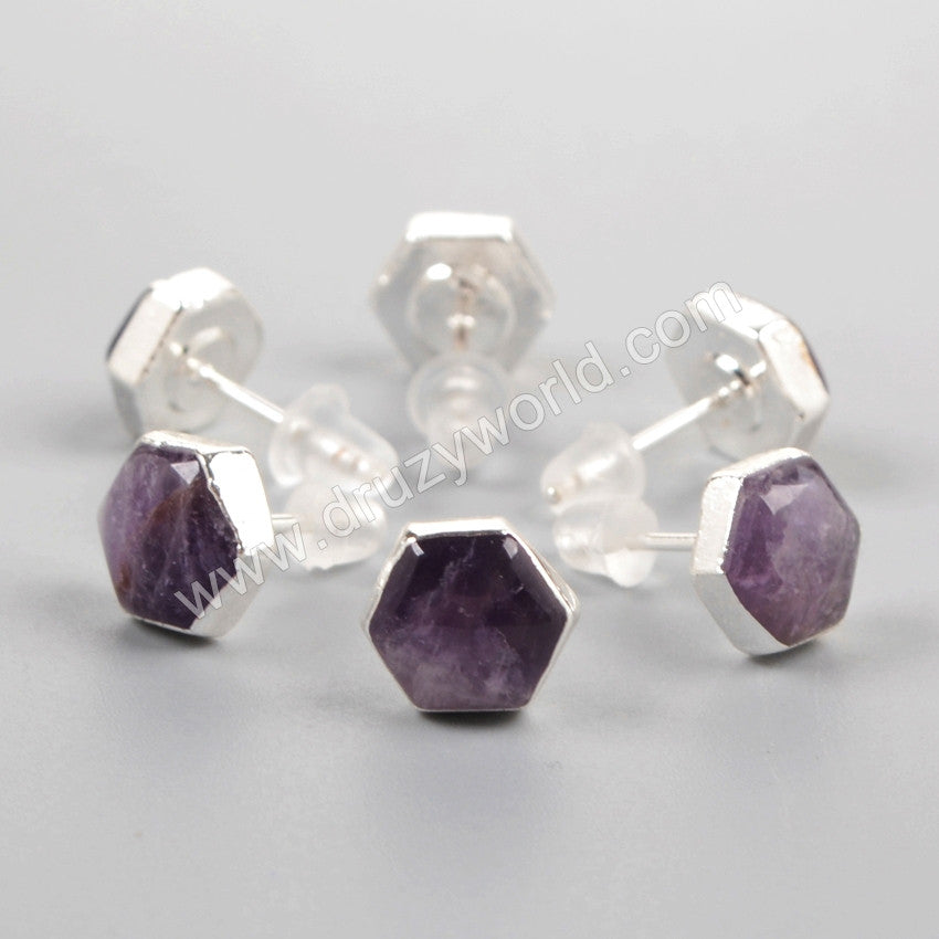 925 Sterling Silver 8mm Hexagon Natural Amethyst Earrings SS085