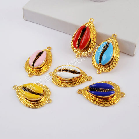 Teardrop Gold Plated Rainbow Cowrie Shell Connector G1848