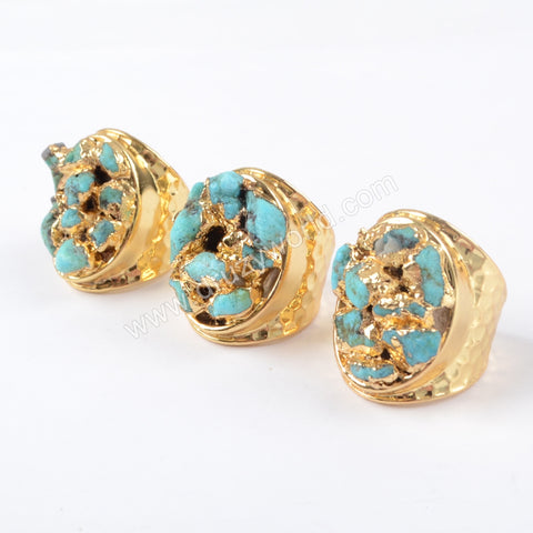 Gold Plated Rough Natural Turquoise Chips Ring G1433