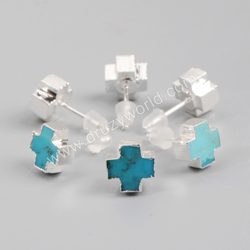 fc1891878 Sterling Silver Plated Natural Turquoise Stud Earrings   Druzyworld