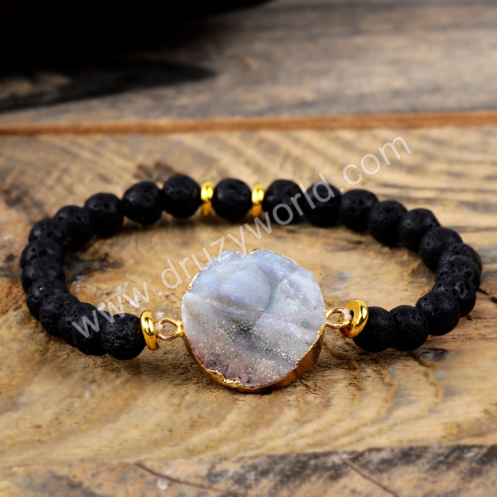 Galaxy Quartz Pelelith Beads Bracelet Gold Plated HD0211
