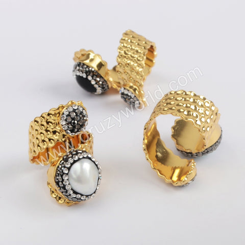 Gold Plated Black Agate Double Round Howlite Turquoise Rhinestone Pave Pear Band Ring JAB963