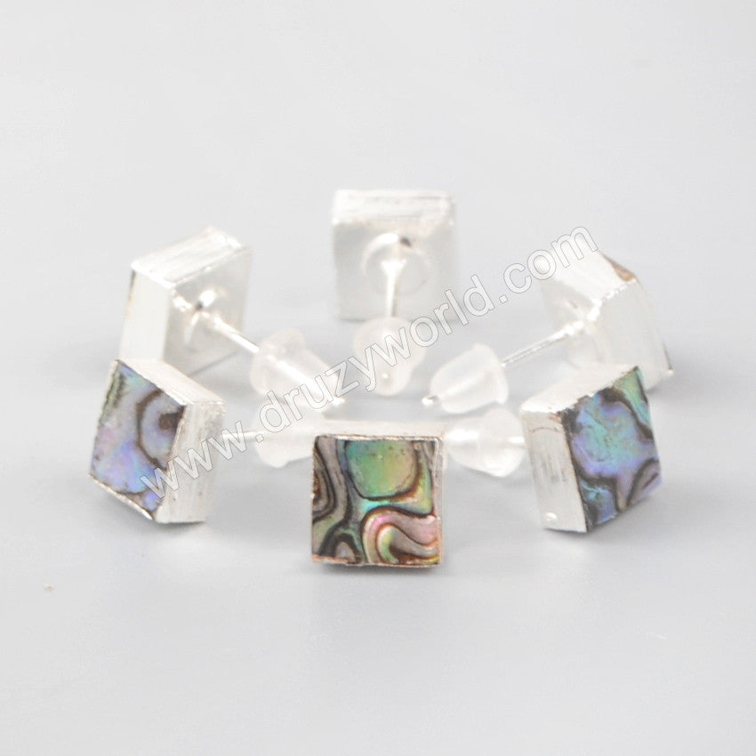 925 Sterling Silver Square Natural Abalone Shell Stud Earrings SS052