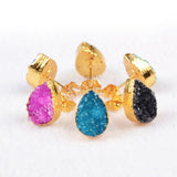 Gold Plated Drop Natural Black Color Agate Druzy Geode Stud Earring