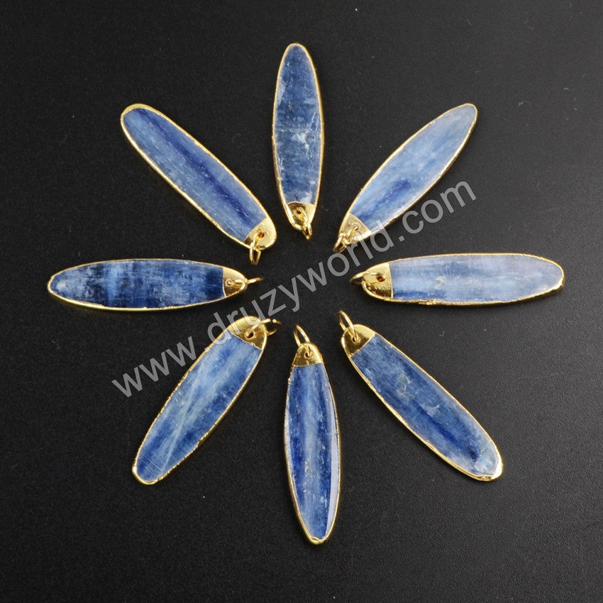 Gold Plated Natural Long Oval kyanite Charm G1023