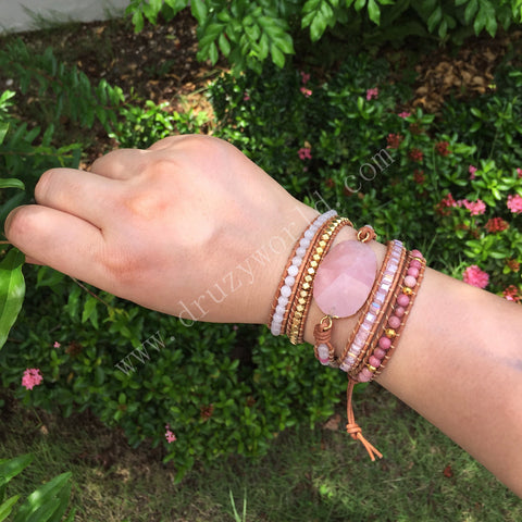 Strands Rose Quartz Gemstone Bead Gold Wrap Bracelet HD0079
