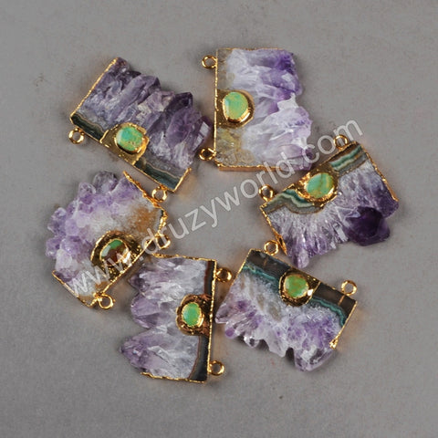 24K gold filled amethyst slice pendant with a cute turquoise charm