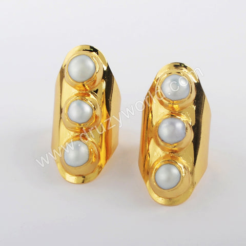 Gold Plated Round Natural Pearl Ring G1927