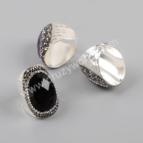 Silver Plated Rhinestone Pave Multi-Kind Stone Band Ring JAB965
