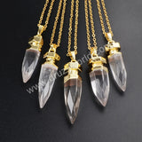 Gold Plated Natural White Quartz Faceted Point Pendant Bead