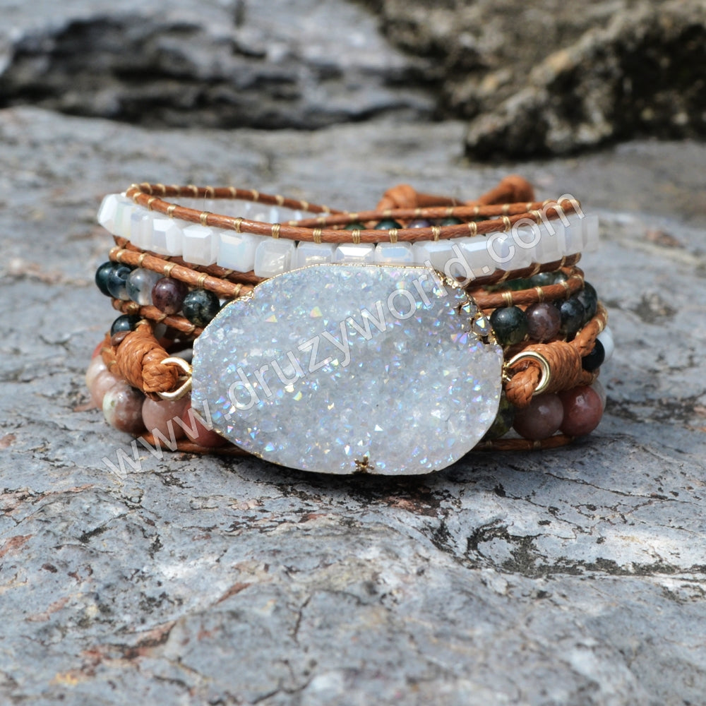 Bracelet Wrap Natural stone Druzy Geode Slice Leather Rope Bracelets Bohemia Beads Gift Cuff Bracelet Dropshipping HD0039
