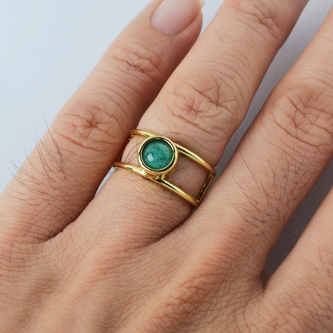 Round Gemstone Gold Ring Cuff WX1862
