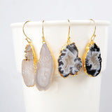 Glod Plated Freeform Natural Agate Druzy Slice Dangle Earring G0516