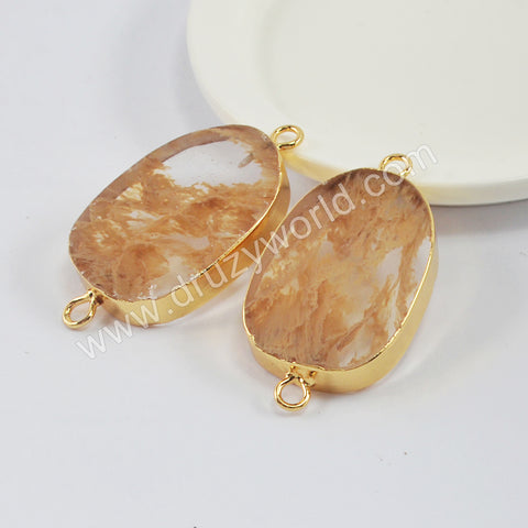 Gold Plated Volcano Cherry Quartz Connector G1996