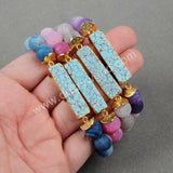 Gold Plated Natural Rectangle Turquoise Bracelet With 10mm Fire Agate Beads G0790