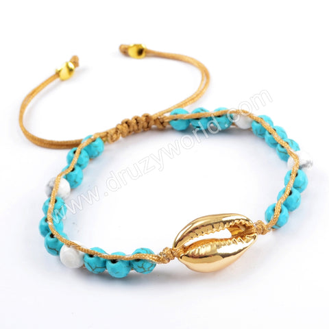 Pure Handmade Narural Cowrie Shell Faceted Turquoise Beads Adjustable Rope Bracelet HD0001