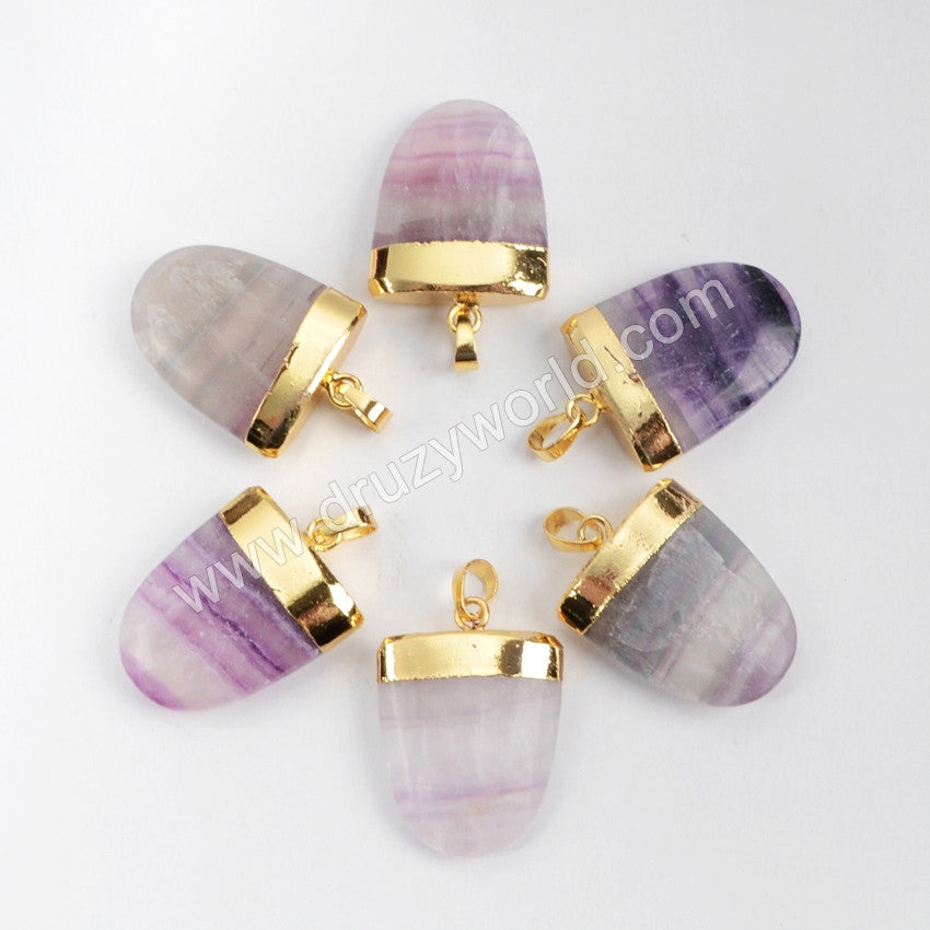 Gold Plated Natural Shield  Multi-Color Fluorite Faceted Pendant Bead G0532