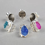 Silver Plated Rainbow Agate Druzy Band Ring S0341