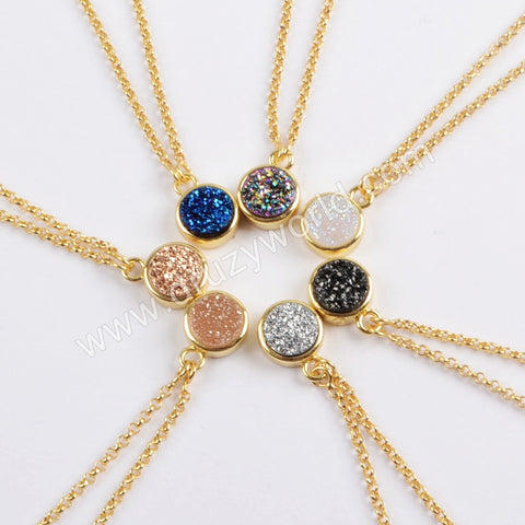 "24"" Adjustable Gold Plated Bezel Round Rainibow Titanium Druzy Necklace ZG0369"