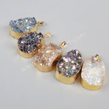 Gold Plated Agate Natural Druzy Freeform Geode Pendant Bead G1049
