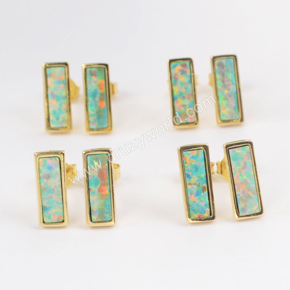 Gold Plated Bezel Rectangle White Opal Studs ZG0214