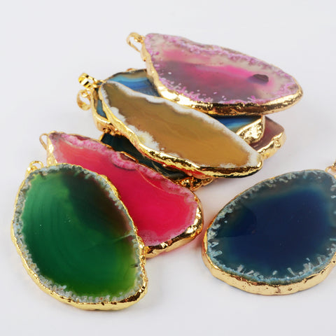 Gold Plated Natural Onyx Agate Slice Pendant Bead G0160