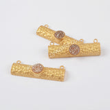Rectangle Gold Plated Round Natural Agate Titanium Rainbow Druzy Connector Double Bails ZG0203